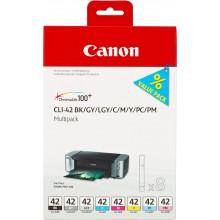 Canon Multipack nero/ciano/magenta/giallo/Grigio CLI-42multi 6384B010 8 cartucce CLI-42: BK +C +M +Y +GY +PC