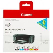 Canon Multipack nero/ciano/magenta/giallo/Rosso PGI-72multi2 6402B009 5 cartucce PGI-72: MBK +C +M +Y +R