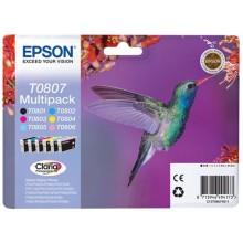 Epson Multipack nero / ciano / magenta / giallo / / C13T08074011 T0807 6 cartucce d'inchiostro: T0801 + T0806