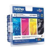 Brother Multipack nero/ciano/magenta/giallo LC1100HYVALBPDR LC1100HY Multi Pack, 4x Cartucce d'inchiostro: hybk/hyc/hym/hyy