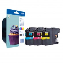 Brother Multipack ciano/magenta/giallo LC123RBWBPDR LC-123 3 cartucce d'inchiostro LC123: C+M+Y